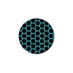Hexagon2 Black Marble & Blue Green Water Golf Ball Marker (4 Pack) by trendistuff