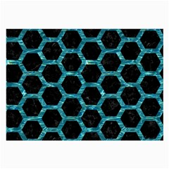 Hexagon2 Black Marble & Blue Green Water Large Glasses Cloth by trendistuff
