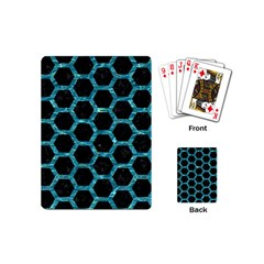 Hexagon2 Black Marble & Blue Green Water Playing Cards (mini) by trendistuff
