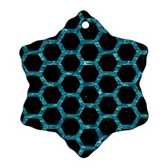 Hexagon2 Black Marble & Blue Green Water Snowflake Ornament (two Sides) by trendistuff