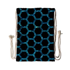 Hexagon2 Black Marble & Blue Green Water Drawstring Bag (small) by trendistuff