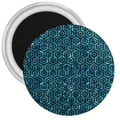 Hexagon1 Black Marble & Blue Green Water (r) 3  Magnet by trendistuff