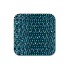 Hexagon1 Black Marble & Blue Green Water (r) Rubber Coaster (square) by trendistuff