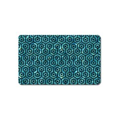 Hexagon1 Black Marble & Blue Green Water (r) Magnet (name Card) by trendistuff