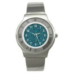 Hexagon1 Black Marble & Blue Green Water (r) Stainless Steel Watch by trendistuff