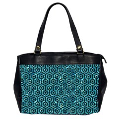 Hexagon1 Black Marble & Blue Green Water (r) Oversize Office Handbag (2 Sides) by trendistuff