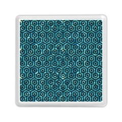 Hexagon1 Black Marble & Blue Green Water (r) Memory Card Reader (square) by trendistuff