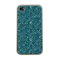 Hexagon1 Black Marble & Blue Green Water (r) Apple Iphone 4 Case (clear)