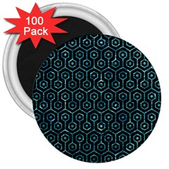 Hexagon1 Black Marble & Blue Green Water 3  Magnet (100 Pack) by trendistuff