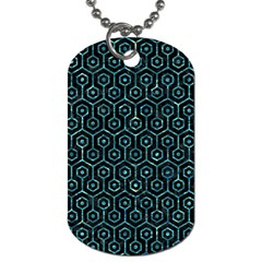 Hexagon1 Black Marble & Blue Green Water Dog Tag (one Side) by trendistuff
