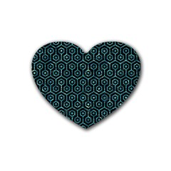 Hexagon1 Black Marble & Blue Green Water Rubber Coaster (heart) by trendistuff