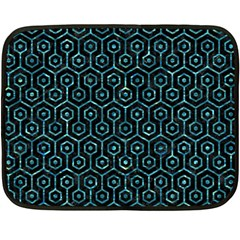 Hexagon1 Black Marble & Blue Green Water Fleece Blanket (mini) by trendistuff