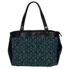 Hexagon1 Black Marble & Blue Green Water Oversize Office Handbag (2 Sides) by trendistuff
