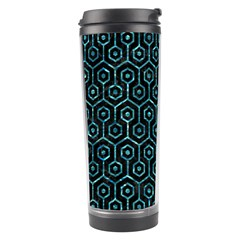 Hexagon1 Black Marble & Blue Green Water Travel Tumbler by trendistuff