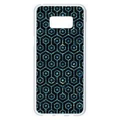 Hexagon1 Black Marble & Blue Green Water Samsung Galaxy S8 Plus White Seamless Case by trendistuff