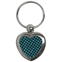 Houndstooth2 Black Marble & Blue Green Water Key Chain (heart) by trendistuff
