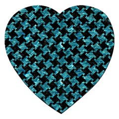 Houndstooth2 Black Marble & Blue Green Water Jigsaw Puzzle (heart) by trendistuff