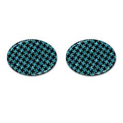 Houndstooth2 Black Marble & Blue Green Water Cufflinks (oval) by trendistuff