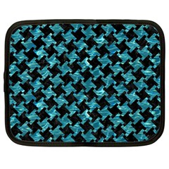 Houndstooth2 Black Marble & Blue Green Water Netbook Case (xl) by trendistuff