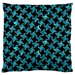 Houndstooth2 Black Marble & Blue Green Water Large Cushion Case (two Sides) by trendistuff