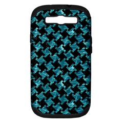 Houndstooth2 Black Marble & Blue Green Water Samsung Galaxy S Iii Hardshell Case (pc+silicone) by trendistuff