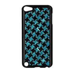 Houndstooth2 Black Marble & Blue Green Water Apple Ipod Touch 5 Case (black) by trendistuff