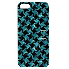 Houndstooth2 Black Marble & Blue Green Water Apple Iphone 5 Hardshell Case With Stand by trendistuff