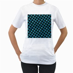 Houndstooth2 Black Marble & Blue Green Water Women s T Shirt (white)  by trendistuff