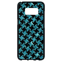 Houndstooth2 Black Marble & Blue Green Water Samsung Galaxy S8 Black Seamless Case by trendistuff