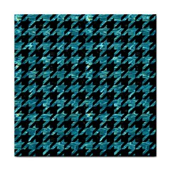 Houndstooth1 Black Marble & Blue Green Water Tile Coaster by trendistuff