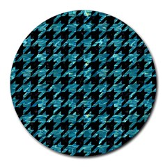 Houndstooth1 Black Marble & Blue Green Water Round Mousepad by trendistuff