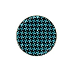 Houndstooth1 Black Marble & Blue Green Water Hat Clip Ball Marker (10 Pack) by trendistuff