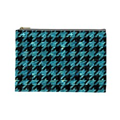 Houndstooth1 Black Marble & Blue Green Water Cosmetic Bag (large) by trendistuff