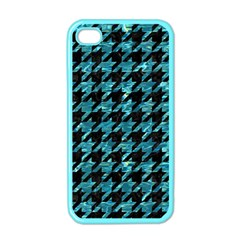 Houndstooth1 Black Marble & Blue Green Water Apple Iphone 4 Case (color) by trendistuff