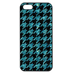 Houndstooth1 Black Marble & Blue Green Water Apple Iphone 5 Seamless Case (black) by trendistuff
