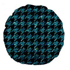 Houndstooth1 Black Marble & Blue Green Water Large 18  Premium Round Cushion  by trendistuff