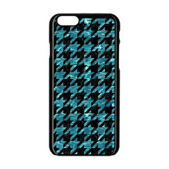 Houndstooth1 Black Marble & Blue Green Water Apple Iphone 6/6s Black Enamel Case by trendistuff