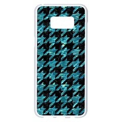 Houndstooth1 Black Marble & Blue Green Water Samsung Galaxy S8 Plus White Seamless Case by trendistuff