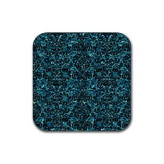Damask2 Black Marble & Blue Green Water (r) Rubber Coaster (square) by trendistuff