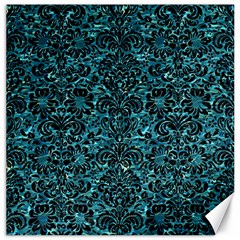 Damask2 Black Marble & Blue Green Water (r) Canvas 20  X 20  by trendistuff