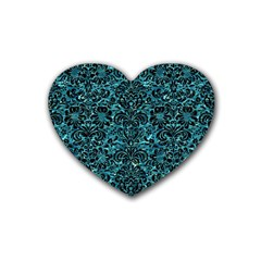 Damask2 Black Marble & Blue Green Water (r) Rubber Coaster (heart) by trendistuff