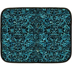 Damask2 Black Marble & Blue Green Water (r) Fleece Blanket (mini) by trendistuff