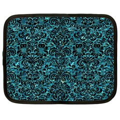 Damask2 Black Marble & Blue Green Water (r) Netbook Case (xl) by trendistuff