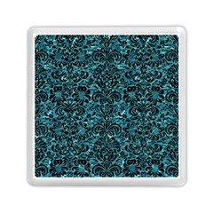 Damask2 Black Marble & Blue Green Water (r) Memory Card Reader (square) by trendistuff