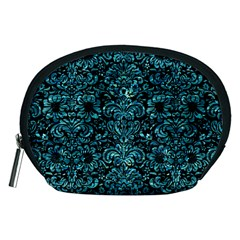 Damask2 Black Marble & Blue Green Water Accessory Pouch (medium) by trendistuff