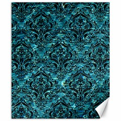 Damask1 Black Marble & Blue Green Water (r) Canvas 8  X 10  by trendistuff