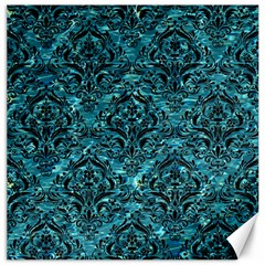 Damask1 Black Marble & Blue Green Water (r) Canvas 16  X 16  by trendistuff