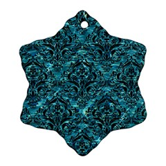 Damask1 Black Marble & Blue Green Water (r) Ornament (snowflake) by trendistuff