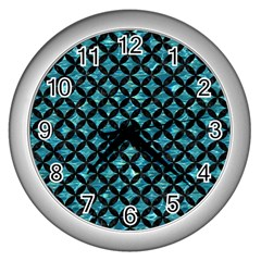 Circles3 Black Marble & Blue Green Water (r) Wall Clock (silver) by trendistuff