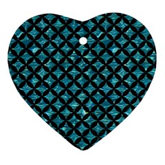 Circles3 Black Marble & Blue Green Water (r) Heart Ornament (two Sides)